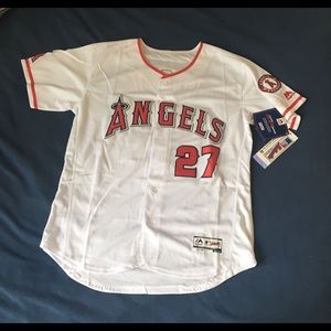 Los Angeles Angels #27 Mike Trout New White Jersey